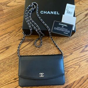 Chanel WOC Sevruga wallet on a chain